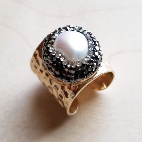 Freshwater Pearl Cuff Ring  012t - The Jewelry Junkie