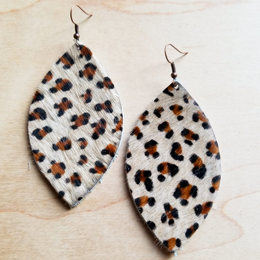 Leather Oval Earrings in Hair on Hide Mini Leopard 222q - The Jewelry Junkie