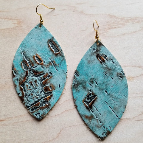 Leather Oval Earrings in Turquoise Metallic 222L - The Jewelry Junkie