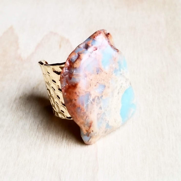 Chunky Aqua Terra Slab on Hammered Cuff Ring Base 012r