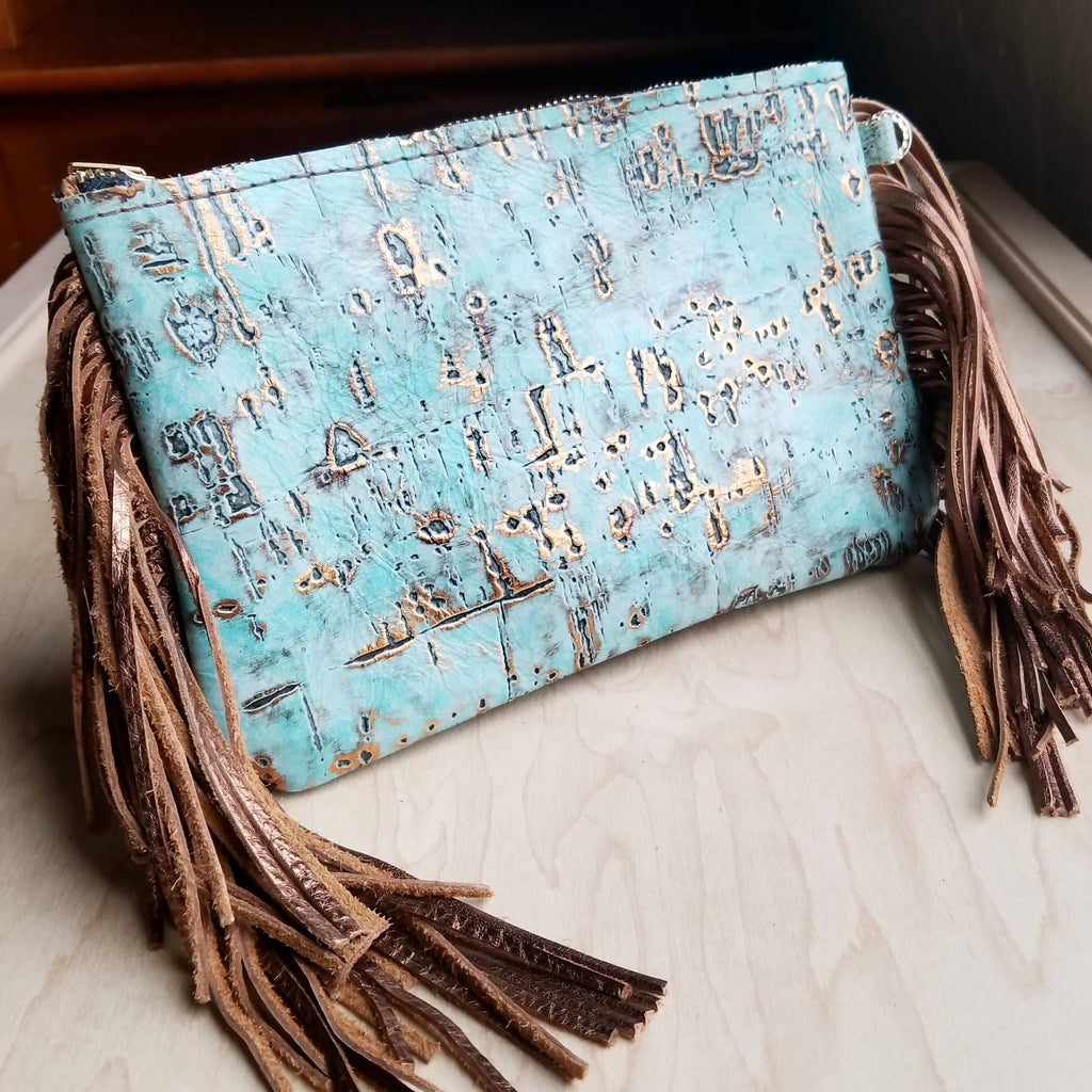 Turquoise Metallic Leather Clutch Handbag 501c