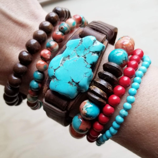 Bracelet Bar - Red Turquoise Beaded Bracelet (802p)