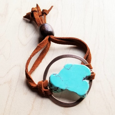 Blue Turquoise Slab Bracelet w/ Adjustable Ties 010i