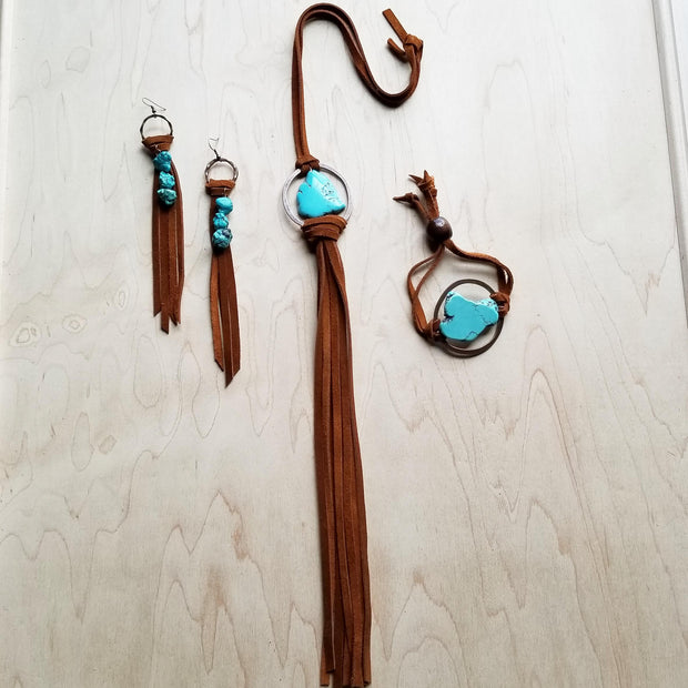 Suede Fringe Earrings with Turquoise Chunks 223f 1