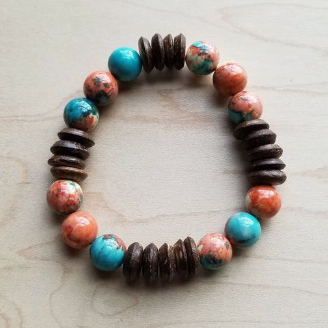 Multi-Colored Turquoise and Wood Stretch Bracelet (802Q)
