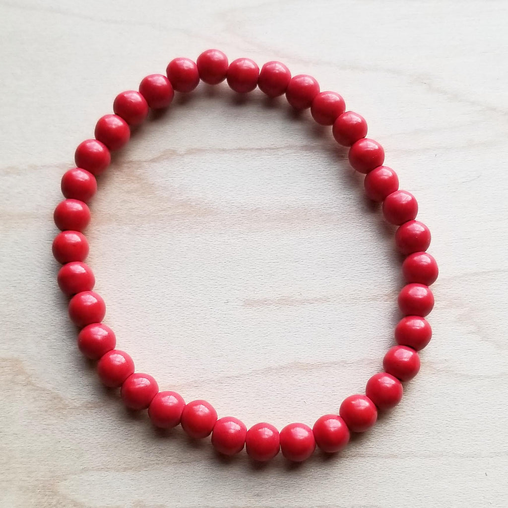 Bracelet Bar-Multi-Red Turquoise Stretch Beaded Bracelet 802p