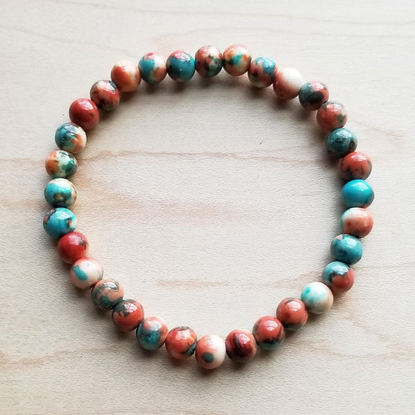 Bracelet Bar-Multi-Colored Turquoise Stretch Beaded Bracelet 802o