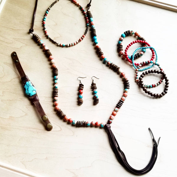 Multi-Colored Turquoise Beaded Collar Length Necklace (248L)