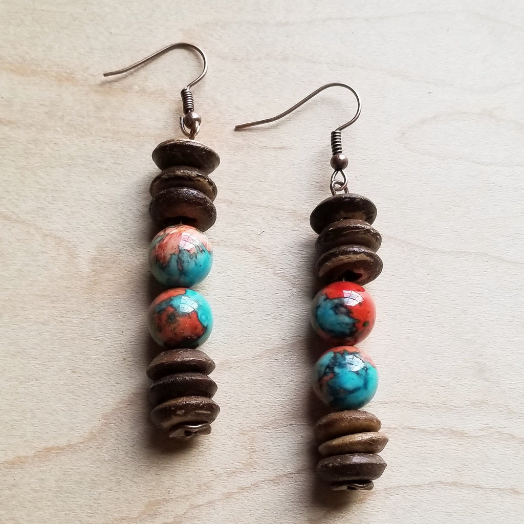 Multi-Colored Turquoise and Wood Earrings (223D)