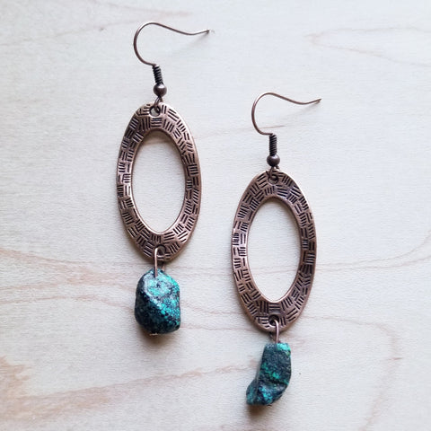 Hammered Copper Earrings with African Turquoise Bead 242y