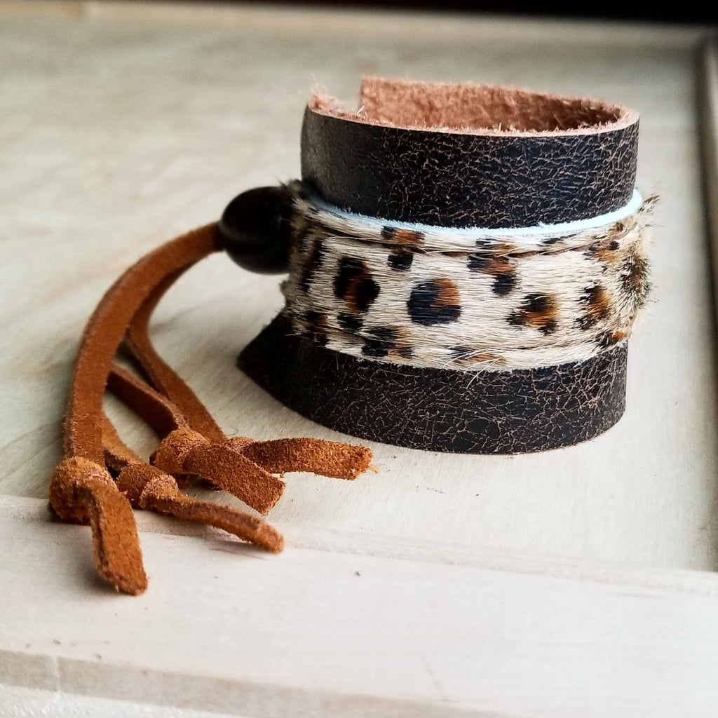 Leather Cuff w/ Adjustable Leather Tie-Mini Leopard Hair on Hide (009p)