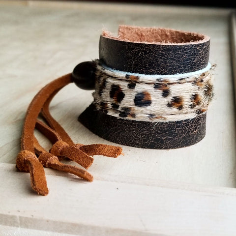 Leather Cuff w/ Adjustable Leather Tie-Mini Leopard Hair on Hide 009p