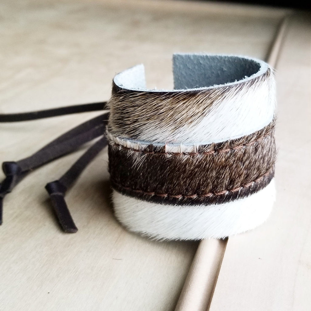 Leather Cuff w/ Adjustable Leather Tie-Hair on Hide Light Brindle (009q)
