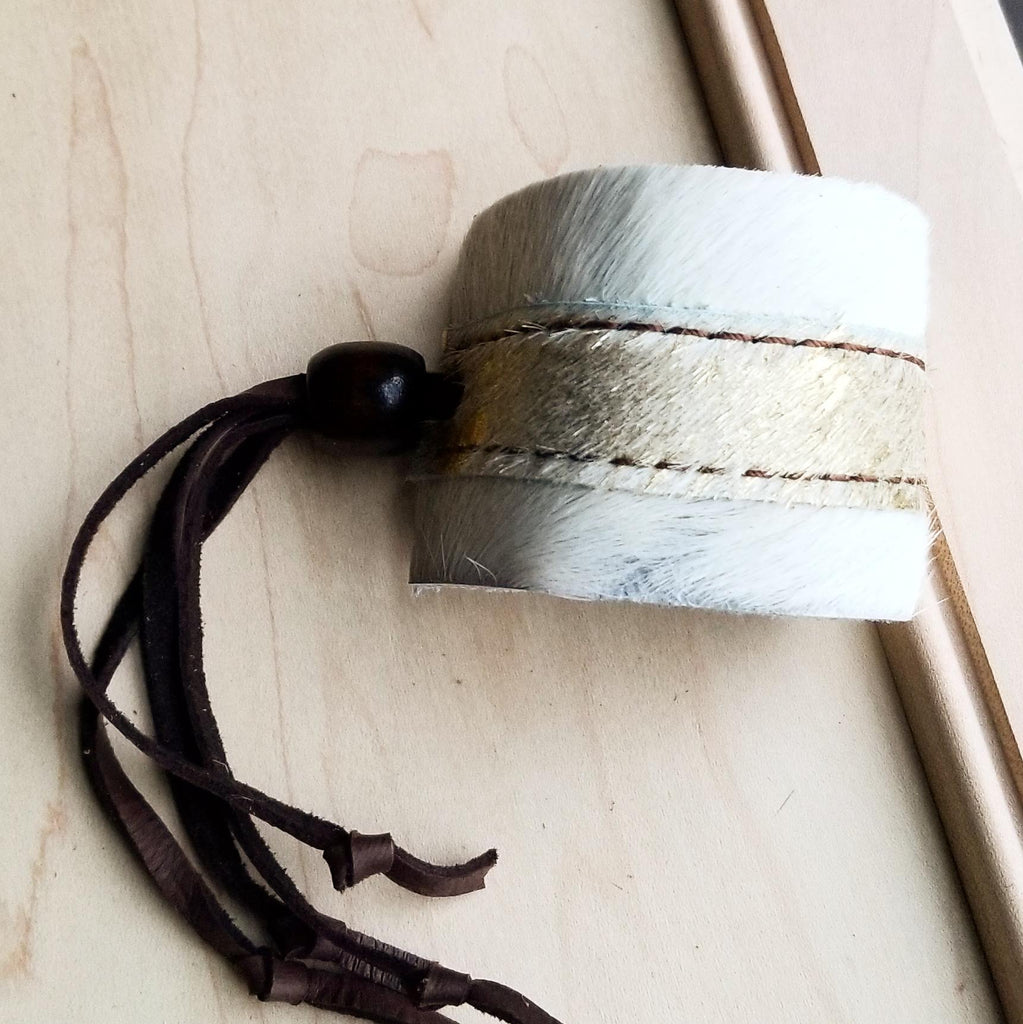 Leather Cuff w/ Adjustable Leather-Cream and Gold Hair on Hide (009x)