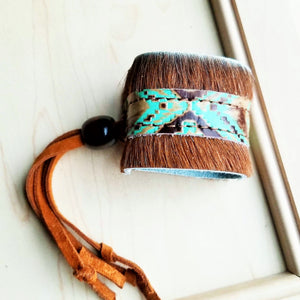 Boho Cuff Bracelet w/ Leather, Navajo Turquoise, Hair on Hide (009z)