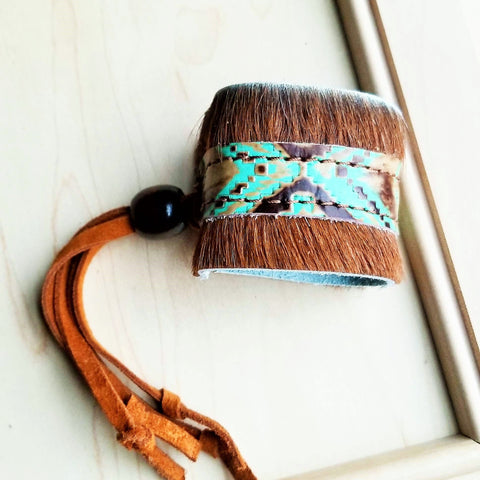 Leather Cuff w/ Adjustable Leather-Turquoise Navajo Hair on Hide 009z