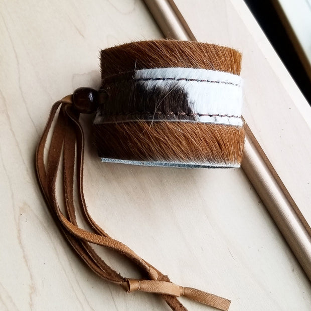 Leather Cuff w/ Adjustable Leather Tie Brindle Hair on Hide (010F) 1