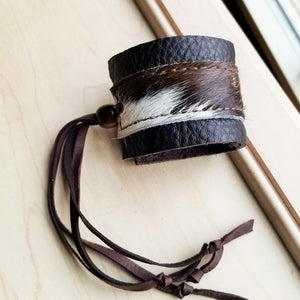 Leather Cuff w/ Adjustable Leather Tie- Brown & White Hair on Hide (010d)