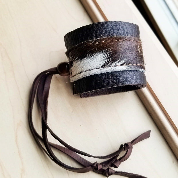 Leather Cuff w/ Adjustable Leather Tie- Brown & White Hair on Hide (010d) 1