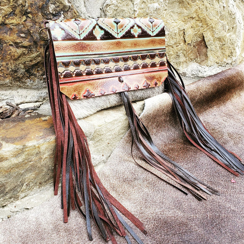Hair on Hide Handbag w/ Navajo Flap and Leather Tassel 502c