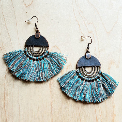 Denim Blue Fan Tassel Earrings 223m