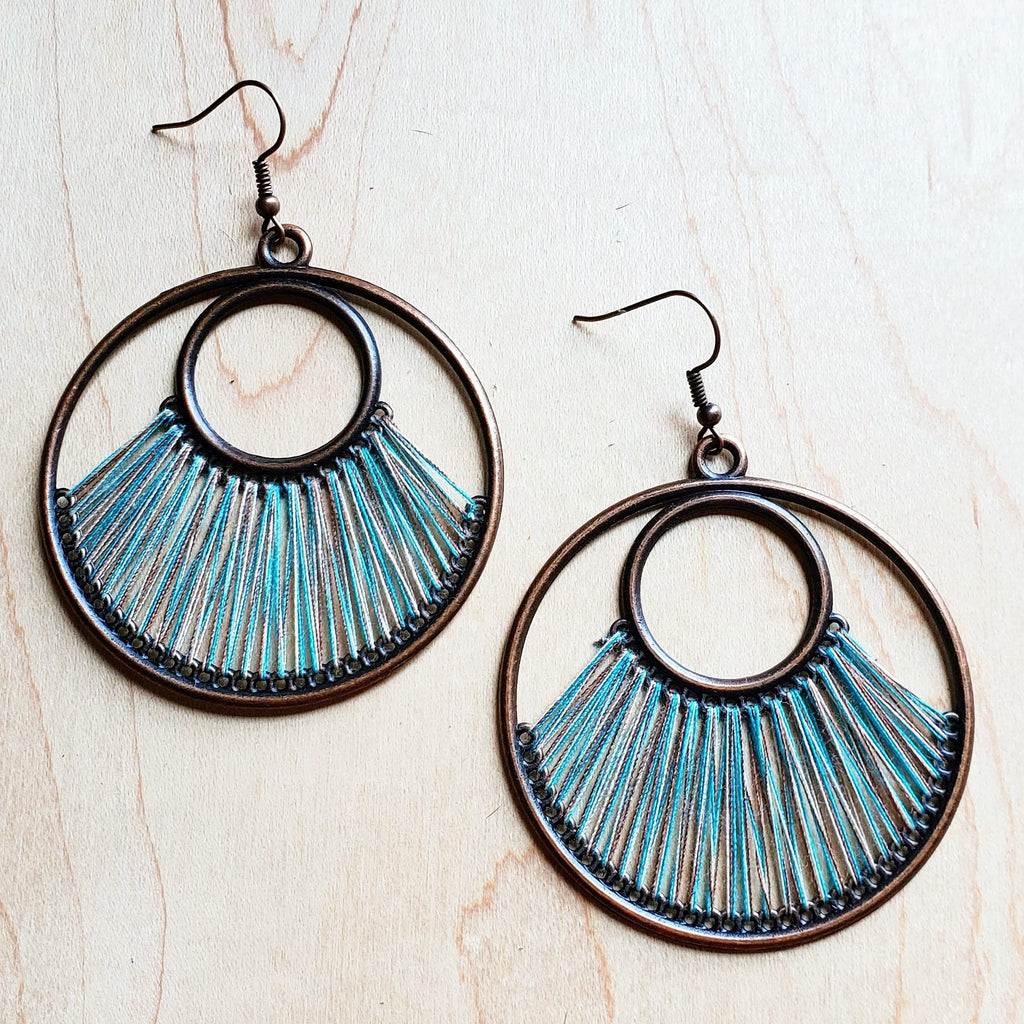 Denim Blue Fan Woven Hoop Earrings 223n
