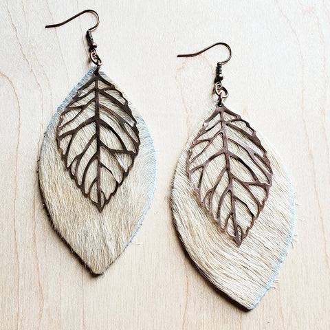 Leather Oval Earrings in Blond Hair on Hide w/ Copper Feathers 223r