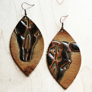 Leather Oval Earrings Tan Steer Head 223x