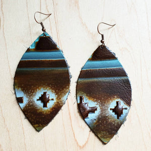 Leather Oval Earrings Blue Navajo 224a