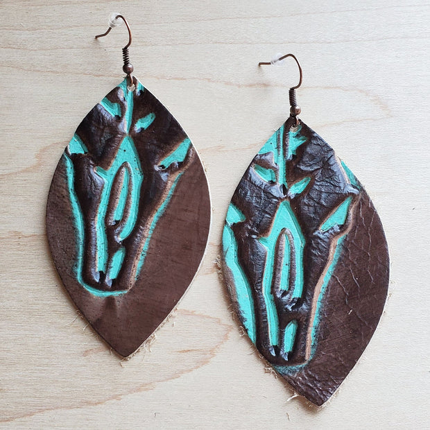 Leather Oval Earrings in Embossed Brown/Turquoise Steer Head 224j 1