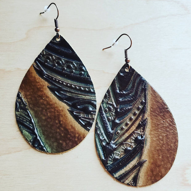 Leather Teardrop Earrings in Embossed Tan/Turquoise Feathers 224i 1