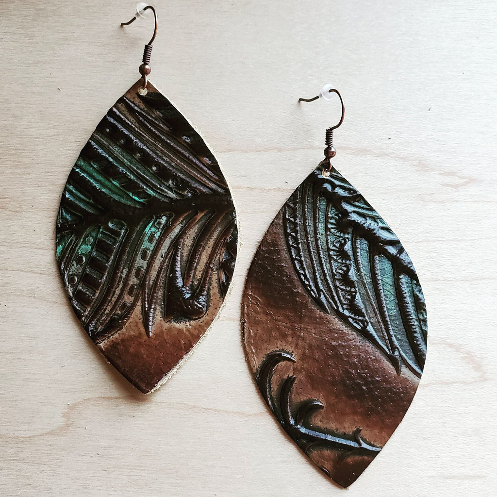 Leather Oval Earrings in Embossed Tan/Turquoise Feathers 224h