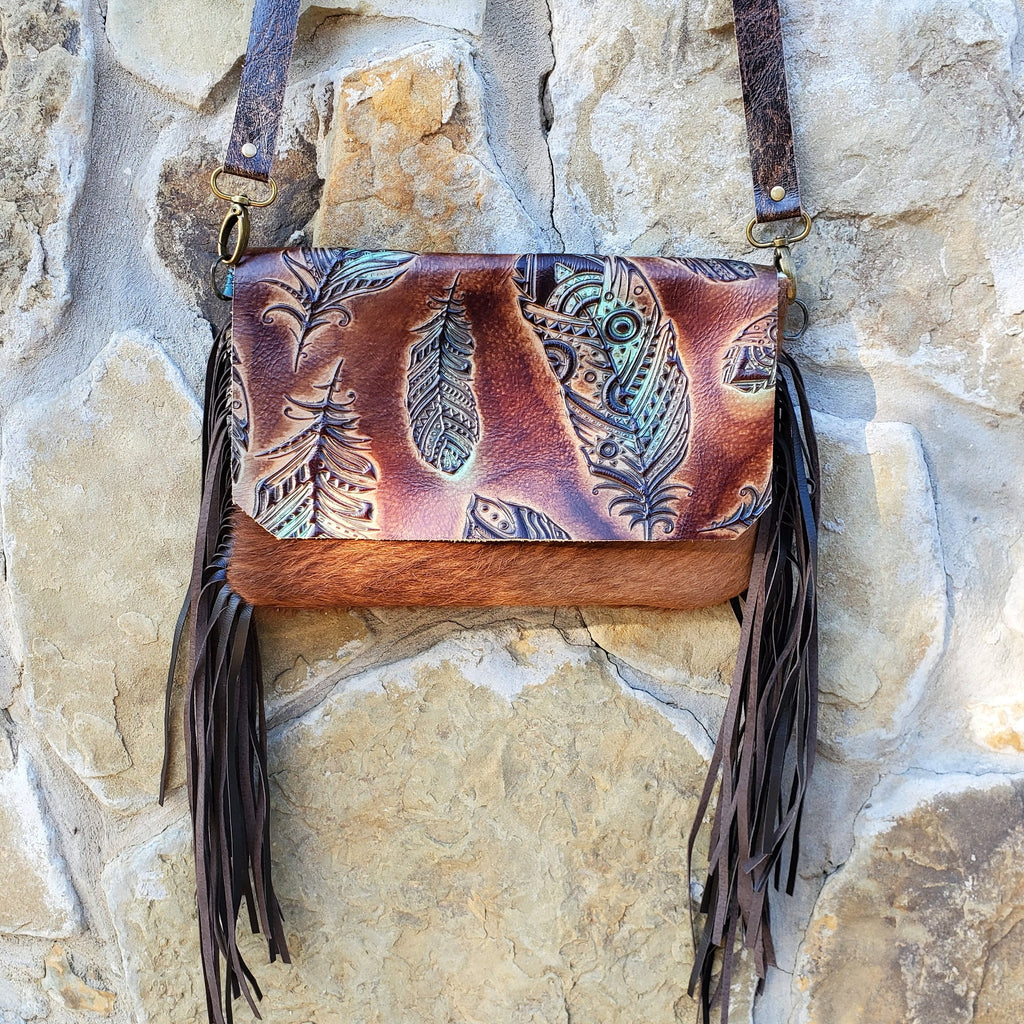 Hair on Hide Handbag w/ Turquoise Feather Flap 502e
