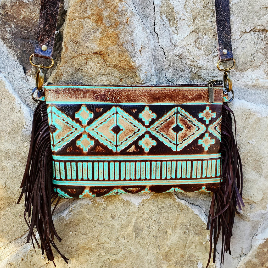 Turquoise Navajo Leather Clutch Handbag 501g