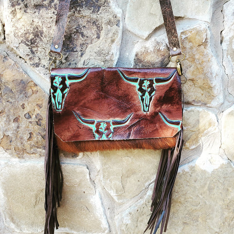 Hair on Hide Handbag w/ Turquoise Steer Head Flap 502d