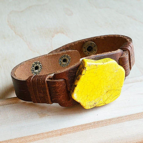 Yellow Turquoise Slab on Narrow Leather Cuff 010q
