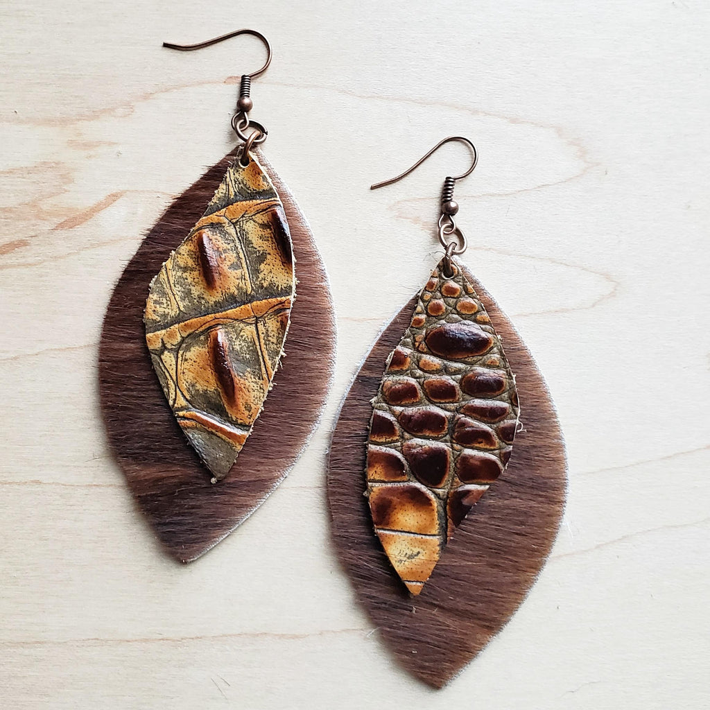 Leather Oval Brown Hide Earrings with Savannah Gator Accents 224z