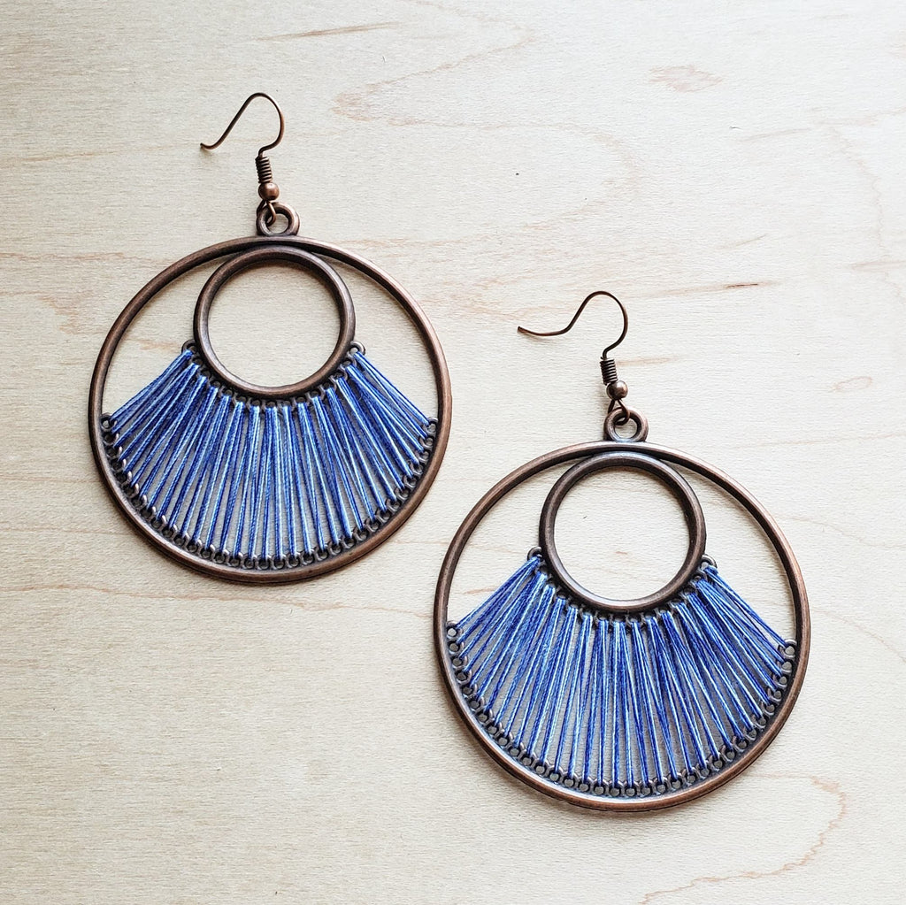 Peacock Blue Fan Woven Hoop Earrings 224o