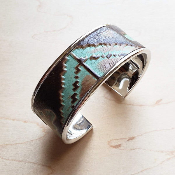 Narrow Cuff Bangle Bracelet in Turquoise Navajo Leather (010t)