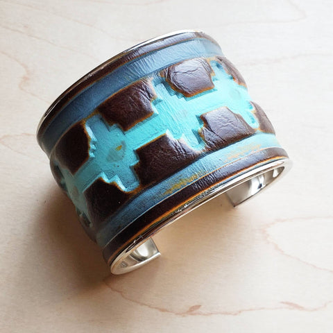 Wide Cuff Bangle Bracelet in Blue Navajo Leather 010r