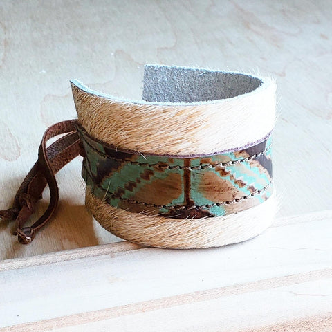 Leather Cuff w/ Adjustable Leather Tie- Light Brindle & Navajo (010j)