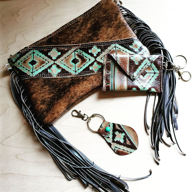 Embossed Leather Key Chain - Turquoise Navajo 700b 1