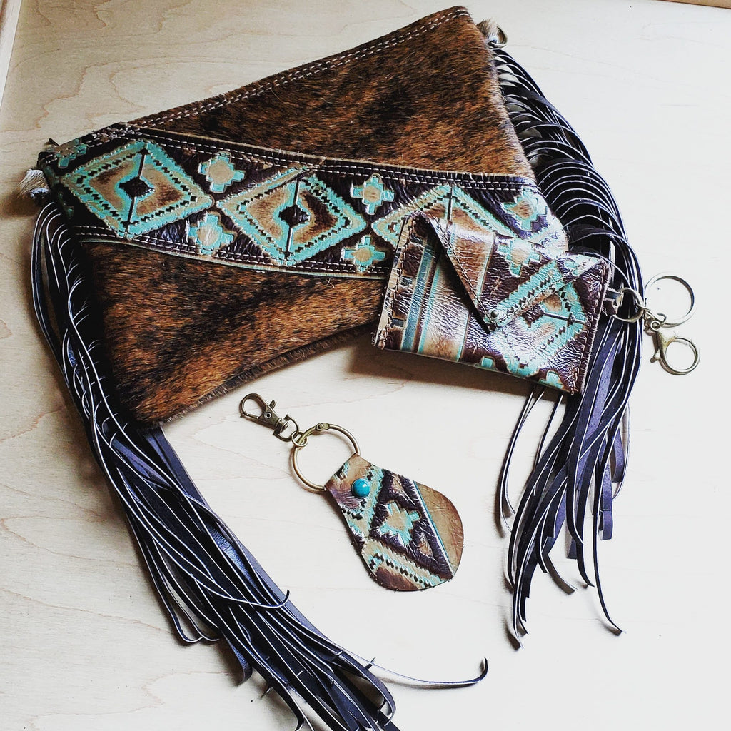 Hair on Hide Handbag w/ Leather Fringe and Navajo Side Accent 501z