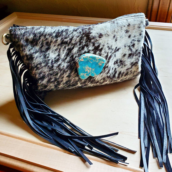 Gray Hair on Hide Clutch Handbag w/ Regalite Stone 502L