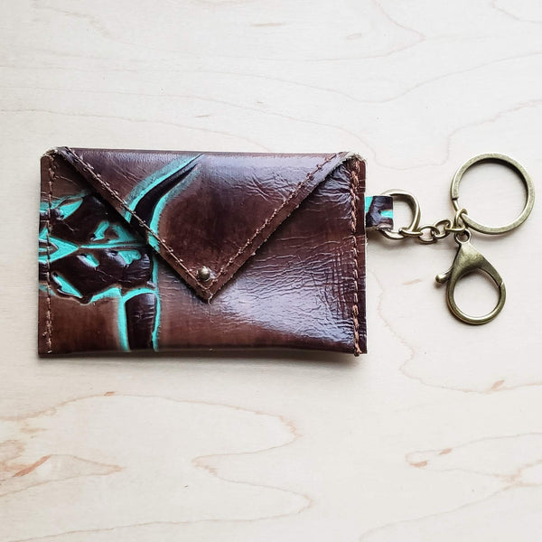 Sierra Credit Card Wallet-Turquoise Steer Head 600f