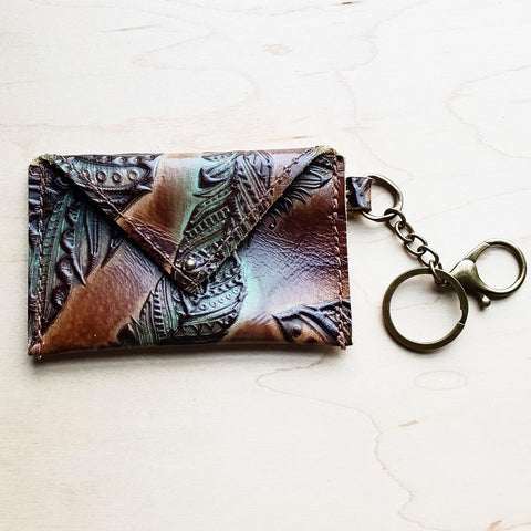 Sierra Credit Card Wallet-Turquoise and Tan Feather 600e
