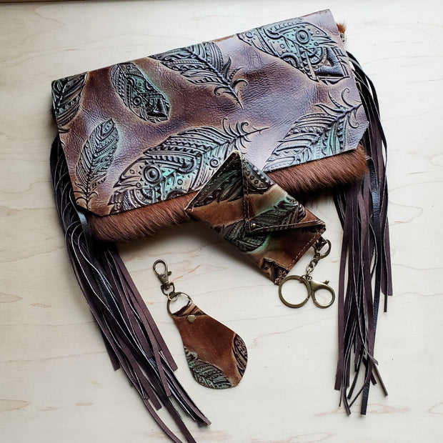 Embossed Leather Key Chain - Turquoise and Tan Feather 700e 1