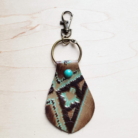 Embossed Leather Key Chain - Turquoise Navajo 700b