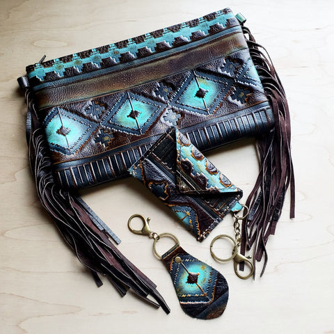 Blue Navajo Leather Embossed Clutch Handbag 502h