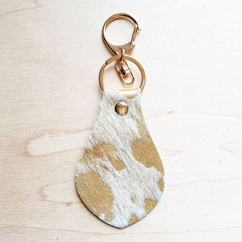 Hair on Hide Leather Key Chain - Cream and Gold 700p